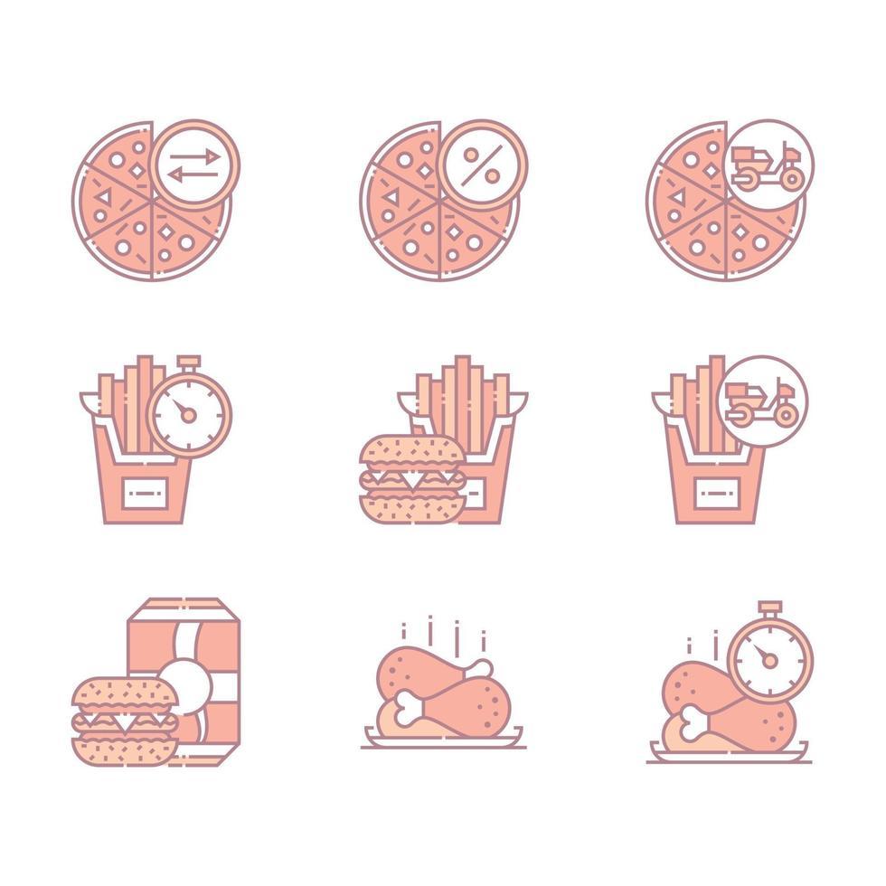 bunte Fast-Food- und Restaurant-Ikonen vektor