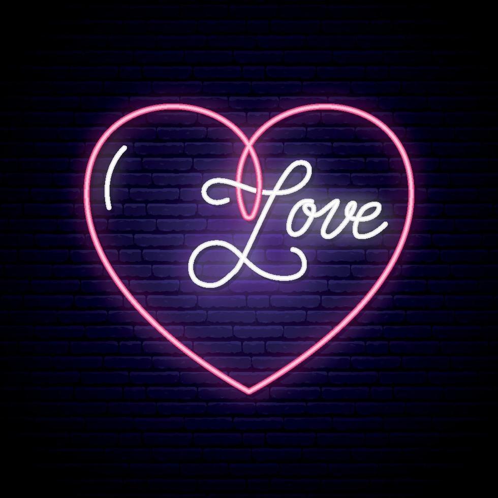 neonskylt, ordet kärlek med hjärta på mörk tegelvägg. vektor