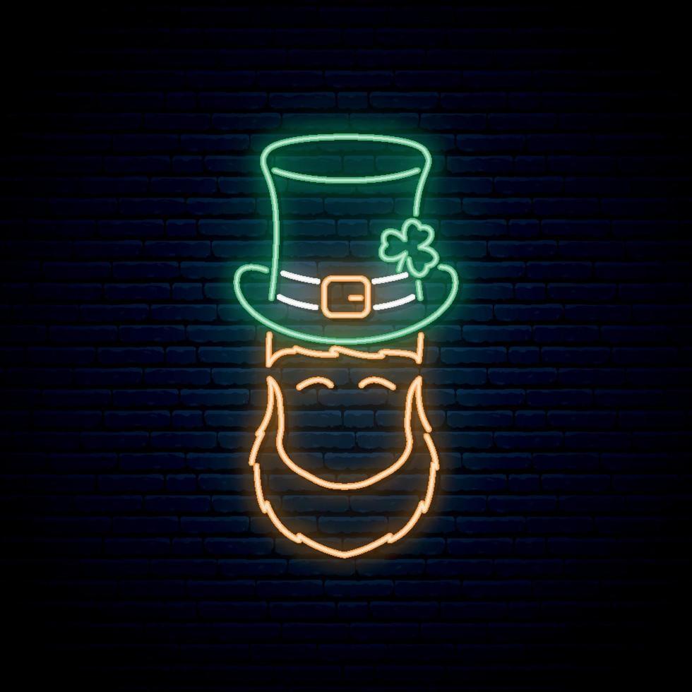 Neonkobold mit Patricks grünem Hut und orangefarbenem Bart. vektor