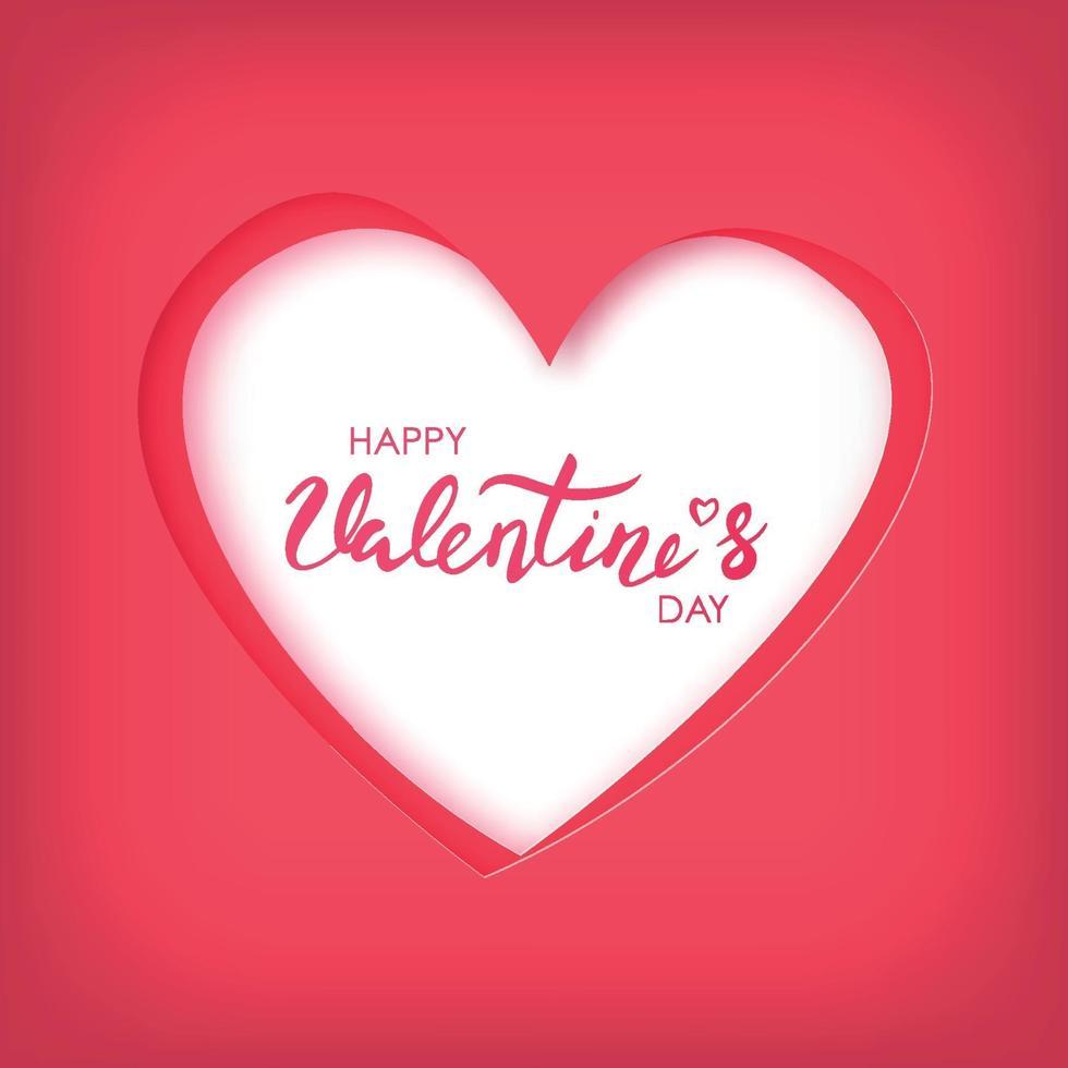 papperskonst av glad Alla hjärtans dag på rött hjärta. vektor