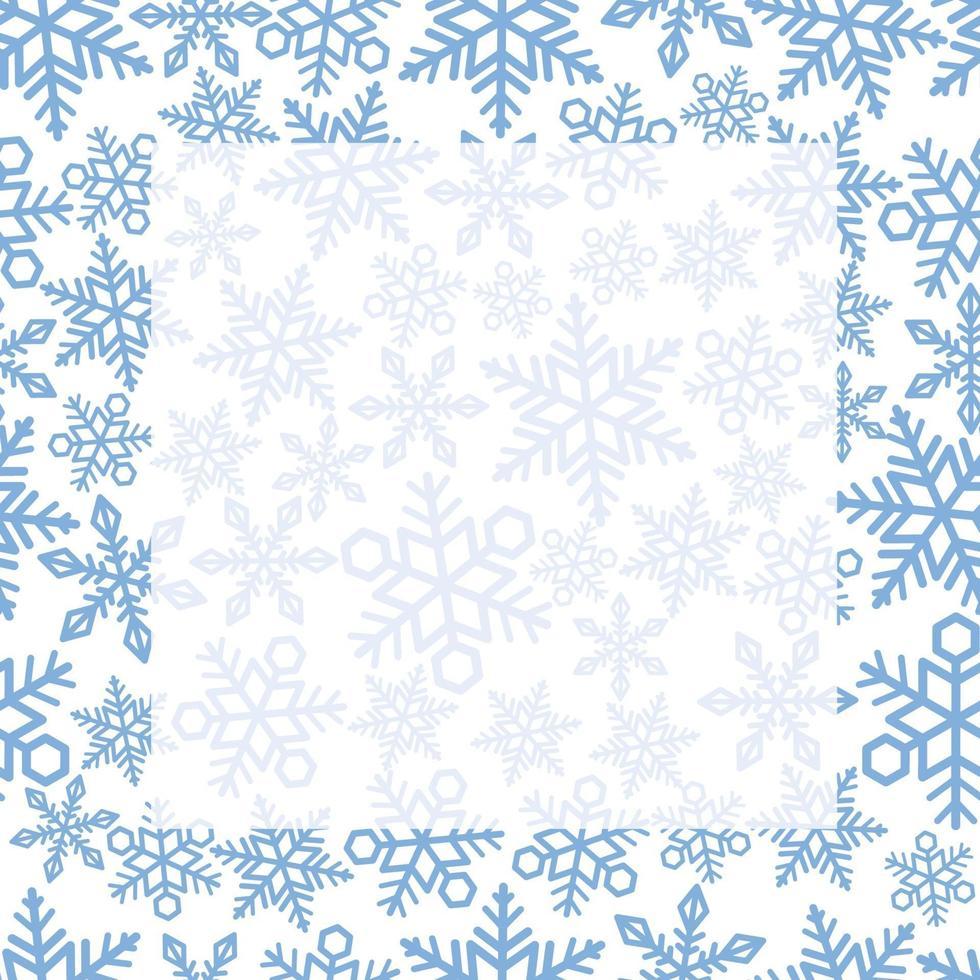 sömlös fyrkantig ram och bakgrund med snöflingamönster. repeterbar horisontellt och vertikalt. vektor