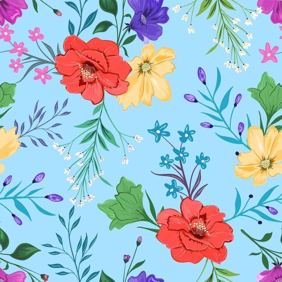 färgglada sömlösa mönster med botanisk blommönster på ljus bakgrund. vektor