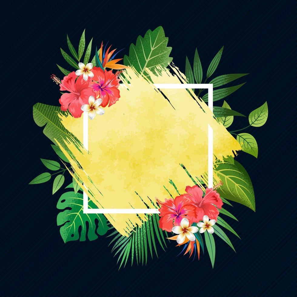 goldener Pinselstrichrahmen mit tropischen Blättern und Blumen lokalisiert auf dunkelblauem Hintergrund. vektor