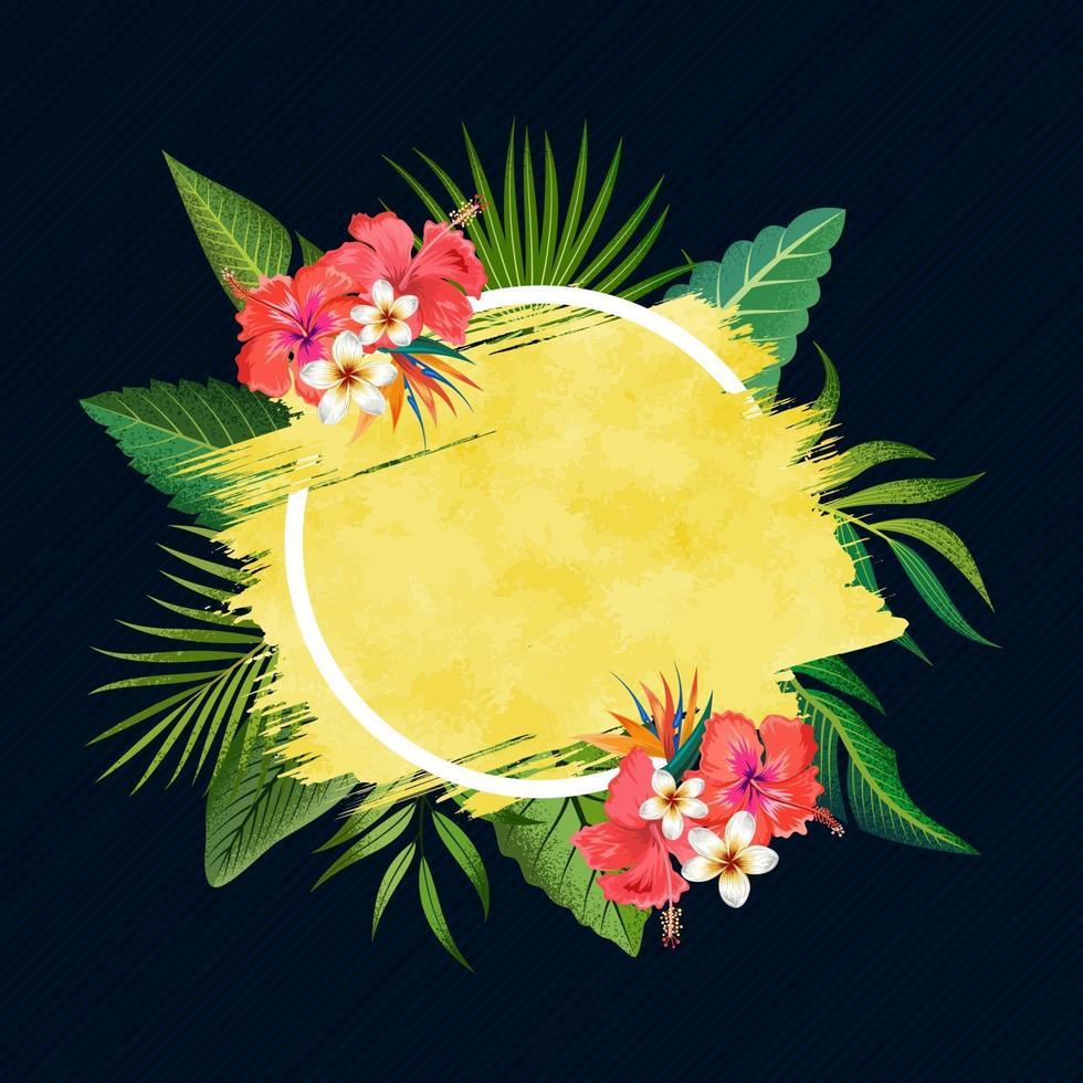 gyllene penseldrag ram med tropiska blad och blommor isolerad på mörkblå bakgrund. vektor