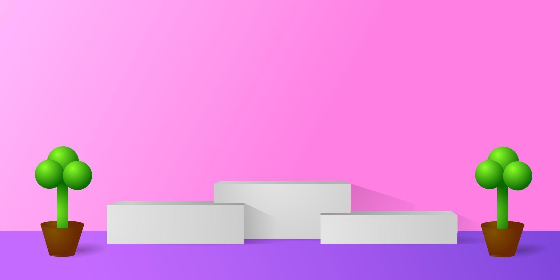 Podium des weißen Marmors mit realistischem 3d Pflanzenentwurfsvektor vektor
