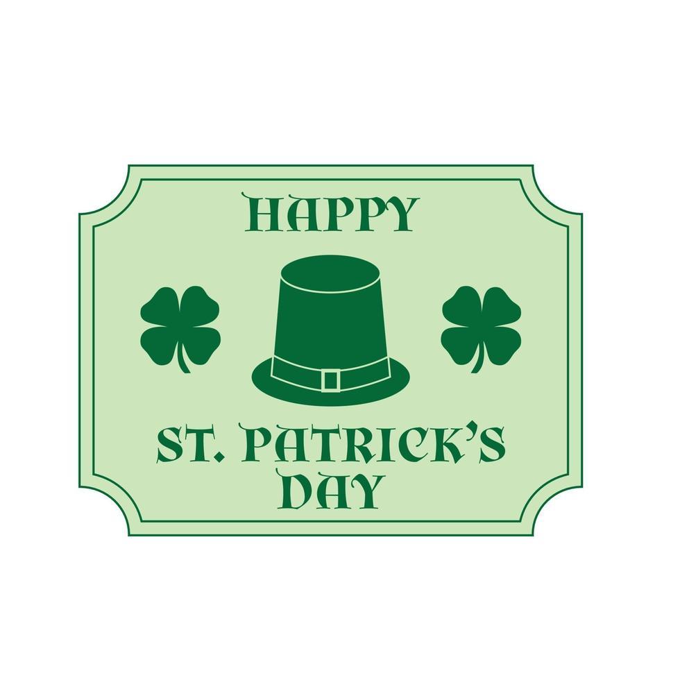glad saint patricks dag plakat med gröna shamrocks och hatt vektor