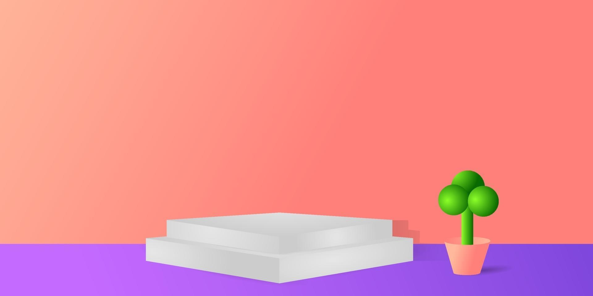 Marmorpodest mit Topfpflanzenhintergrundentwurf vektor