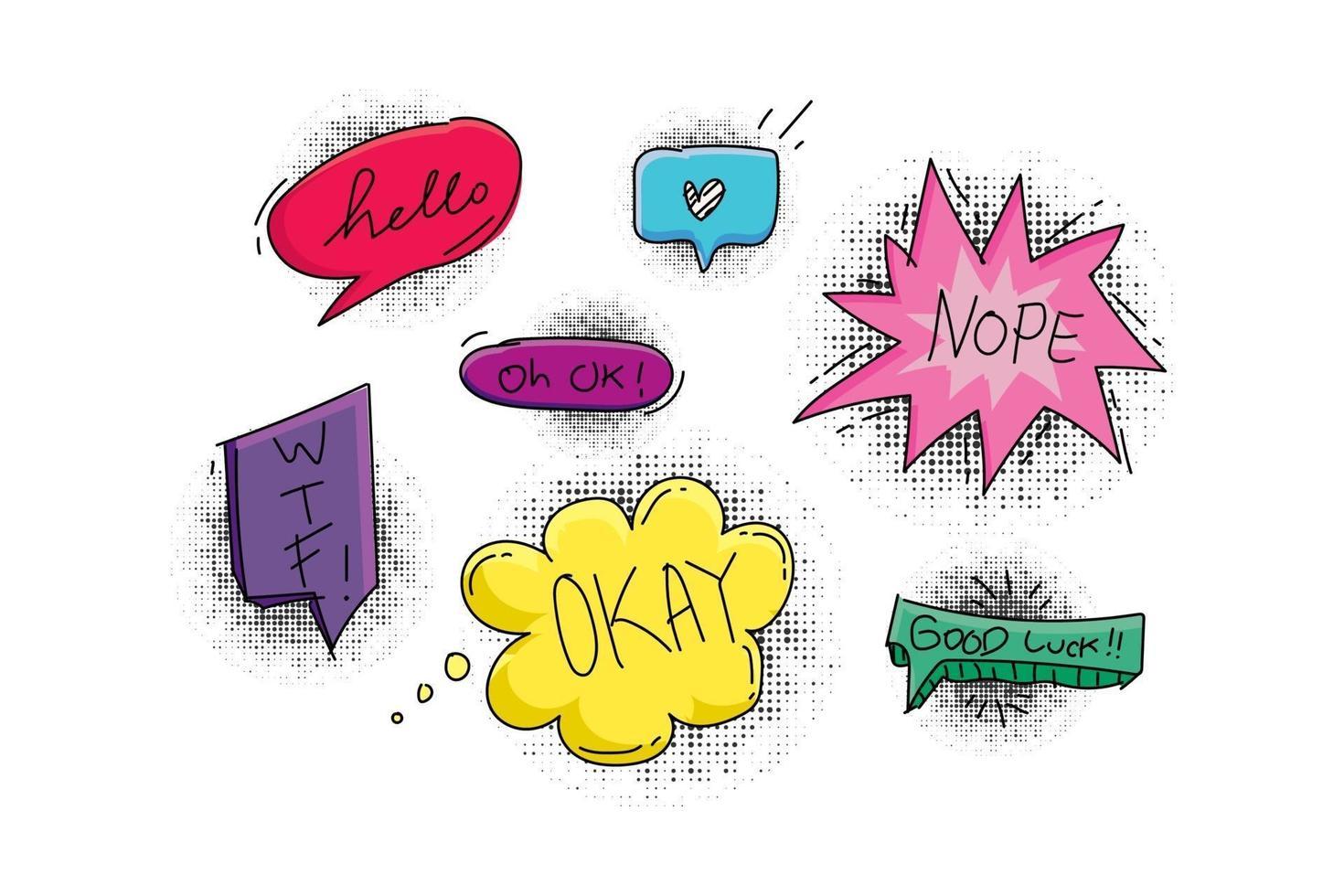 uppsättning popkonst bubbla samtal med halvton samling design vektor