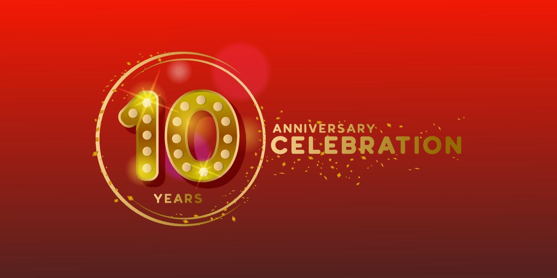 10-årsjubileum med guldnummer och glitterdesignbakgrund vektor
