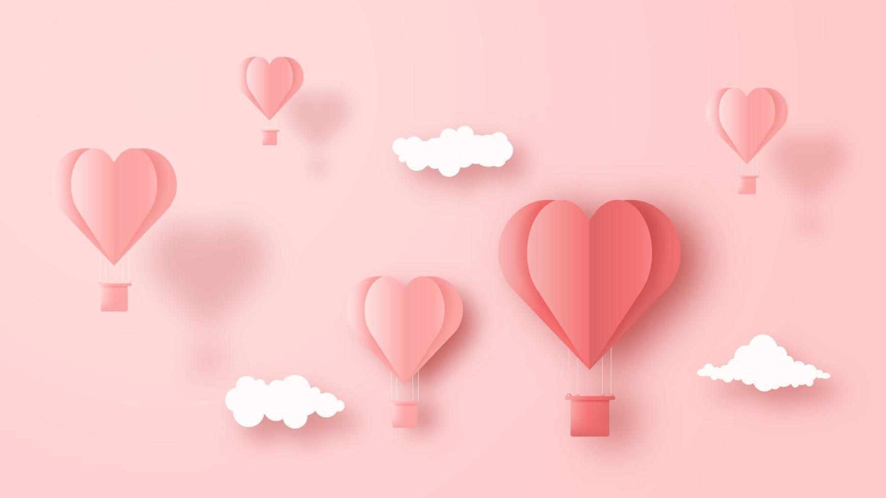 Hjärta för luftballong för origami 3d som flyger med moln på himmelbakgrund. kärlek konceptdesign för glad mors dag, alla hjärtans dag, födelsedag. vektor papper konst illustration.