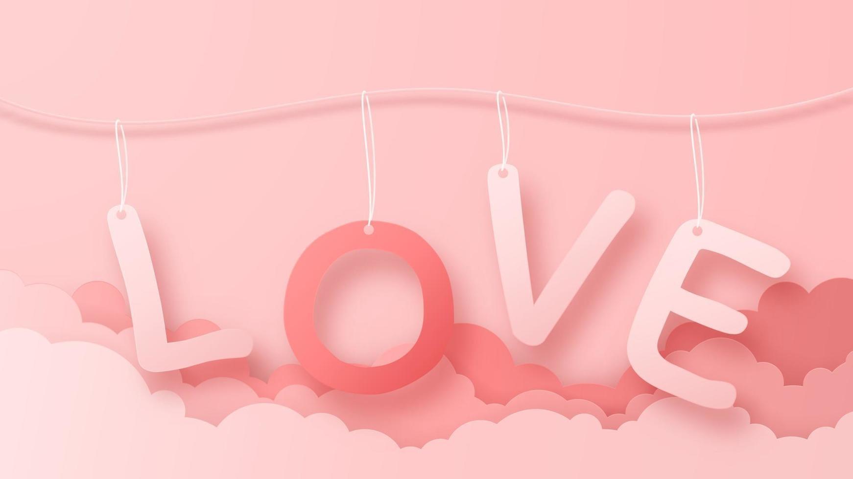 Varm luftballong för origami 3d som flyger med bakgrund för hjärtekärlekstext. kärlek konceptdesign för glad mors dag, alla hjärtans dag, födelsedag. vektor papper konst illustration.