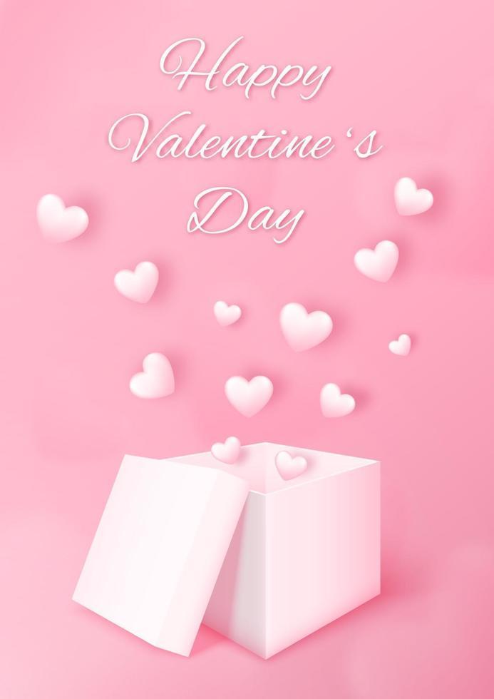 3d Geschenkbox mit Herz fliegend auf rosa Hintergrund. Liebeskonzeptentwurf für glücklichen Valentinstag. Plakat und Grußkartenvorlage. Vektorgrafikenillustration. vektor