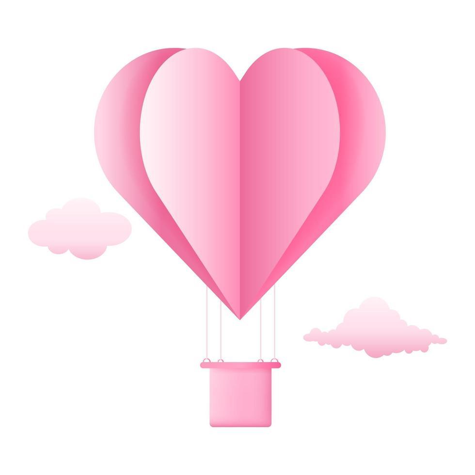 Heißluftballonherz des Origamis 3d, der mit Wolke auf Himmelhintergrund fliegt. Liebeskonzeptentwurf für glücklichen Muttertag, Valentinstag, Geburtstag. Vektor Papier Kunst Illustration.