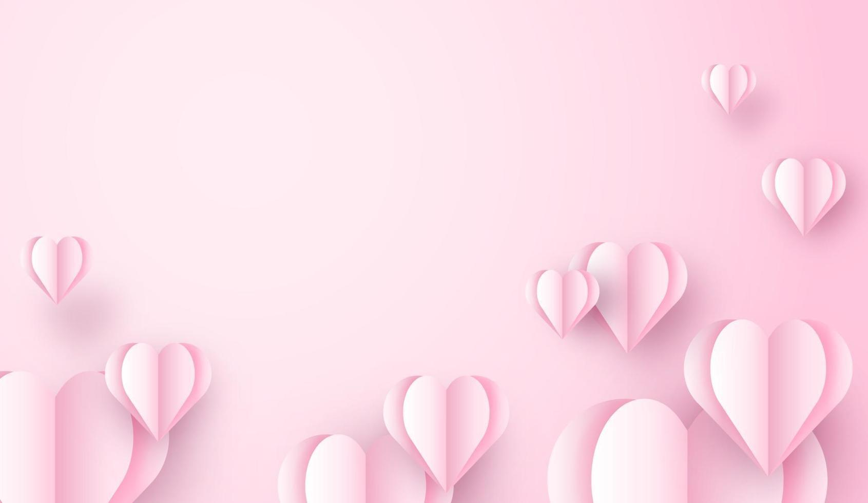 Hjärta för flyg 3d som flyger på rosa bakgrund. kärlek konceptdesign för glad mors dag, alla hjärtans dag, födelsedag. affisch och gratulationskortmall. vektor papper konst illustration.