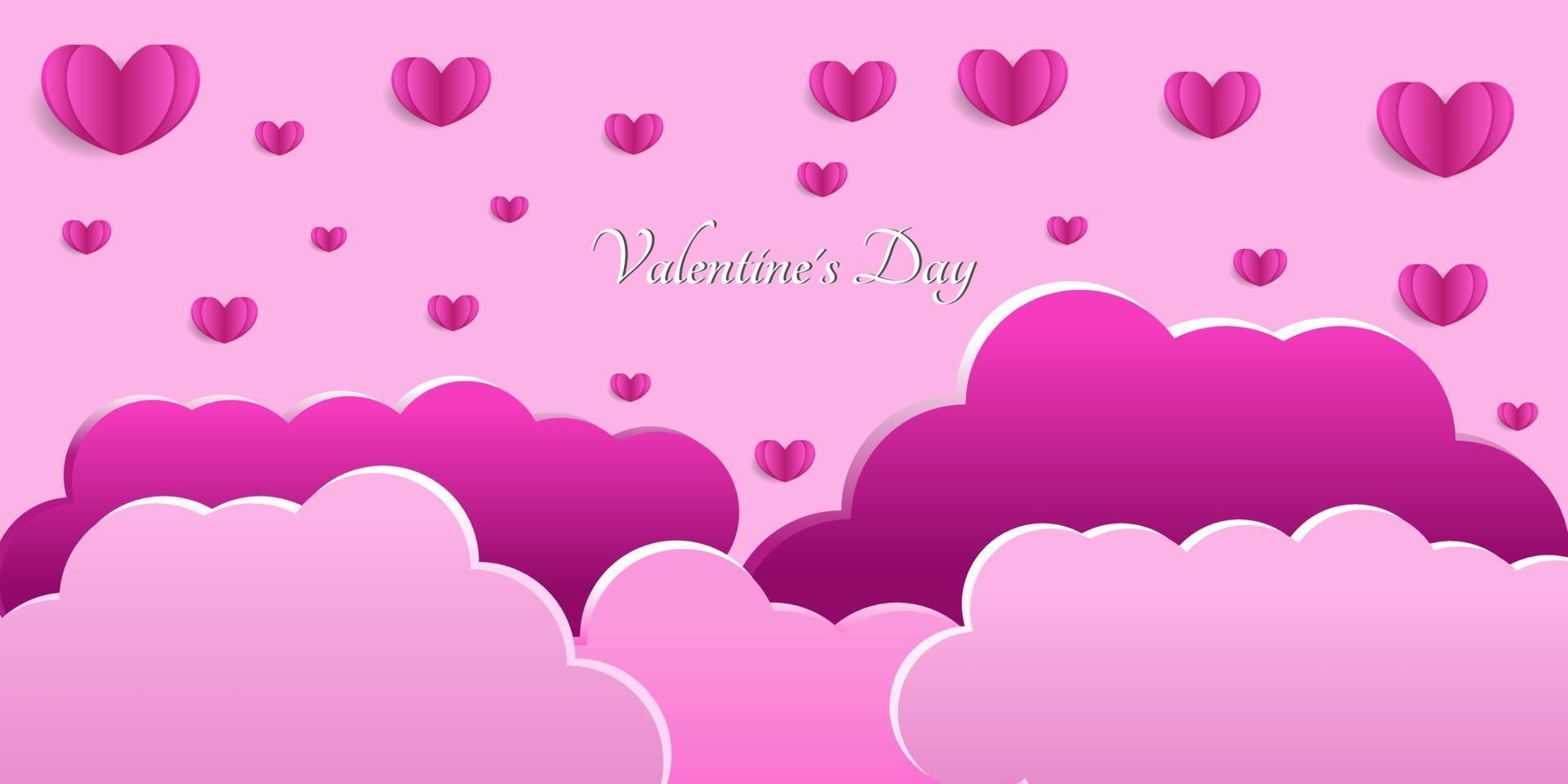 glad alla hjärtans dag hjärtabakgrund i pappersskuren stil vektor
