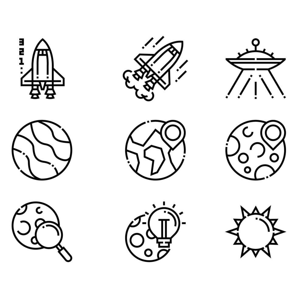 planeter och rymdikoner vektor
