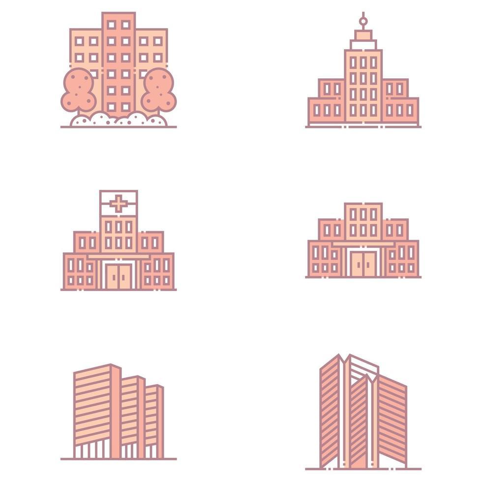 fastigheter och byggnader ikoner vektor