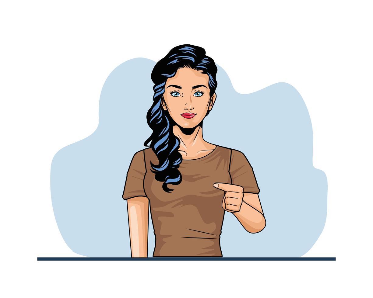 söt popkonst för ung kvinna vektor