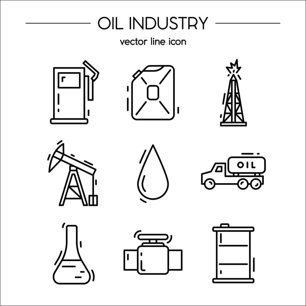oljeindustrins ikonuppsättning lämplig för infografik vektor