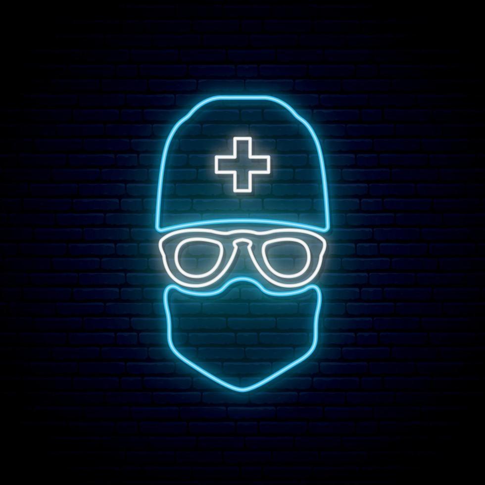 neonläkare tecken. man läkare bär skyddande medicinsk mask, glasögon och medicinsk hatt. vektor
