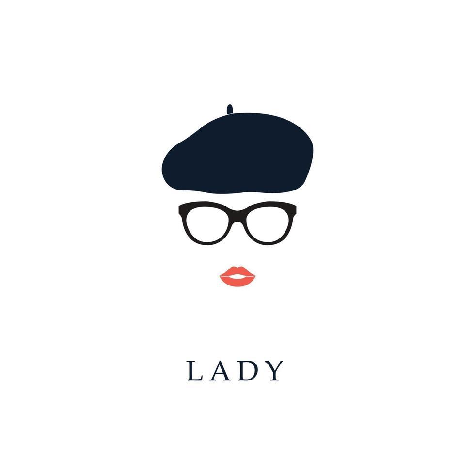 vacker trendig fransk kvinna som bär glasögon och basker. vektor