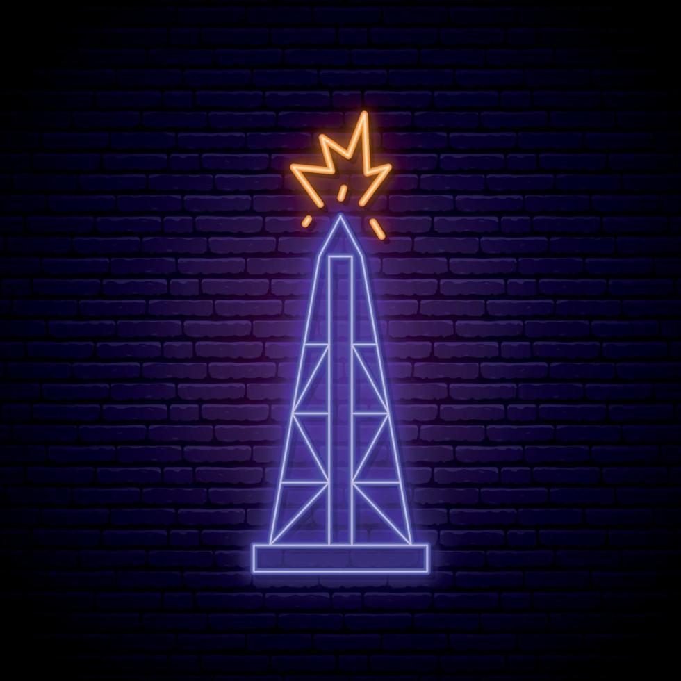 olja derrick neonskylt. ljus ljus oljerigg symbol på mörk tegelvägg bakgrund. vektor