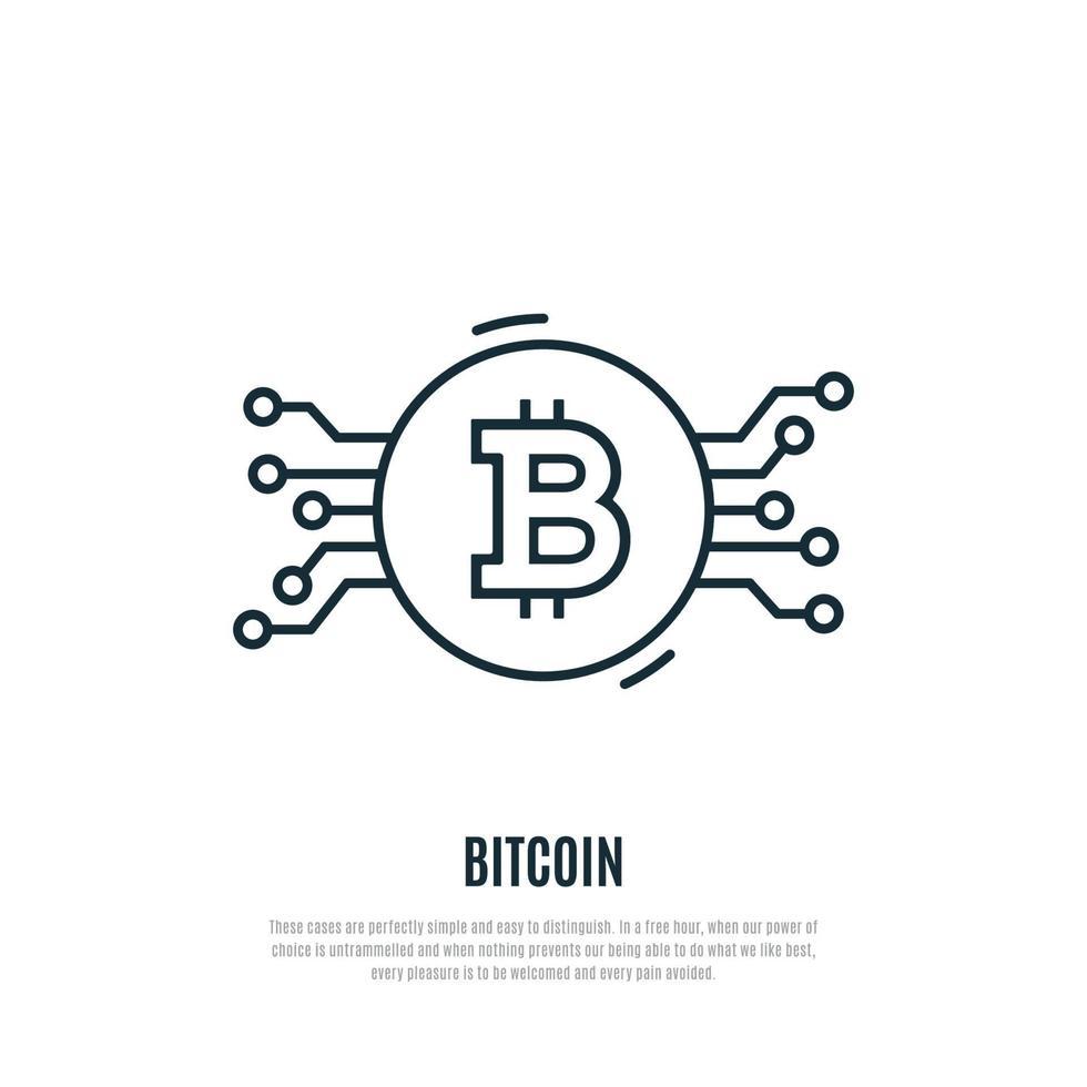 ikon för bitcoin-linje. kryptovaluta vektorillustration. vektor