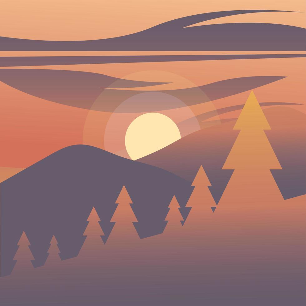 Kiefern vor einem Hintergrund des roten Himmels vektor