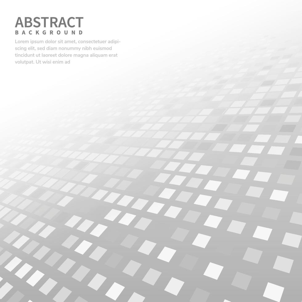 abstrakter weißer grauer geometrischer quadratischer Musterhintergrund mit weißer Formperspektive kann im Flyer der Cover-Design-Poster-Website verwendet werden. vektor