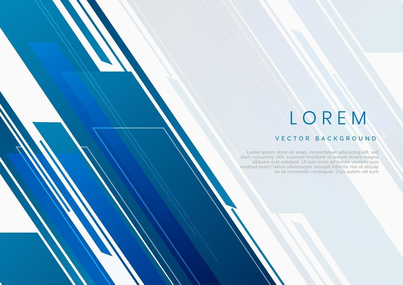 abstrakt teknik geometrisk blå och grå på vit bakgrund. vektor
