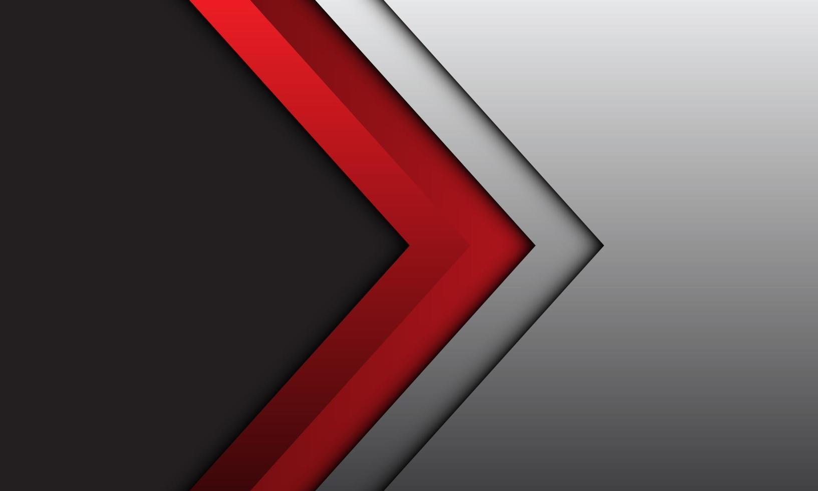 abstrakt röd pil riktning silver linje skugga med mörkgrå tomt utrymme design modern futuristisk bakgrund vektorillustration. vektor