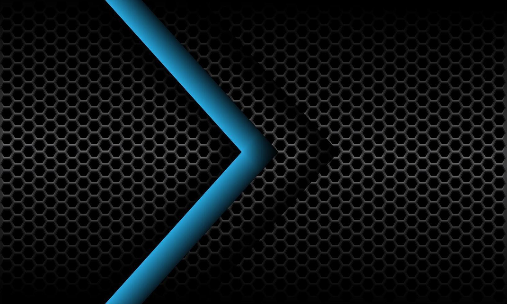 abstrakt blå pilriktning på mörkgrå metallisk hexagon mesh mönster design modern futuristisk bakgrund vektorillustration. vektor