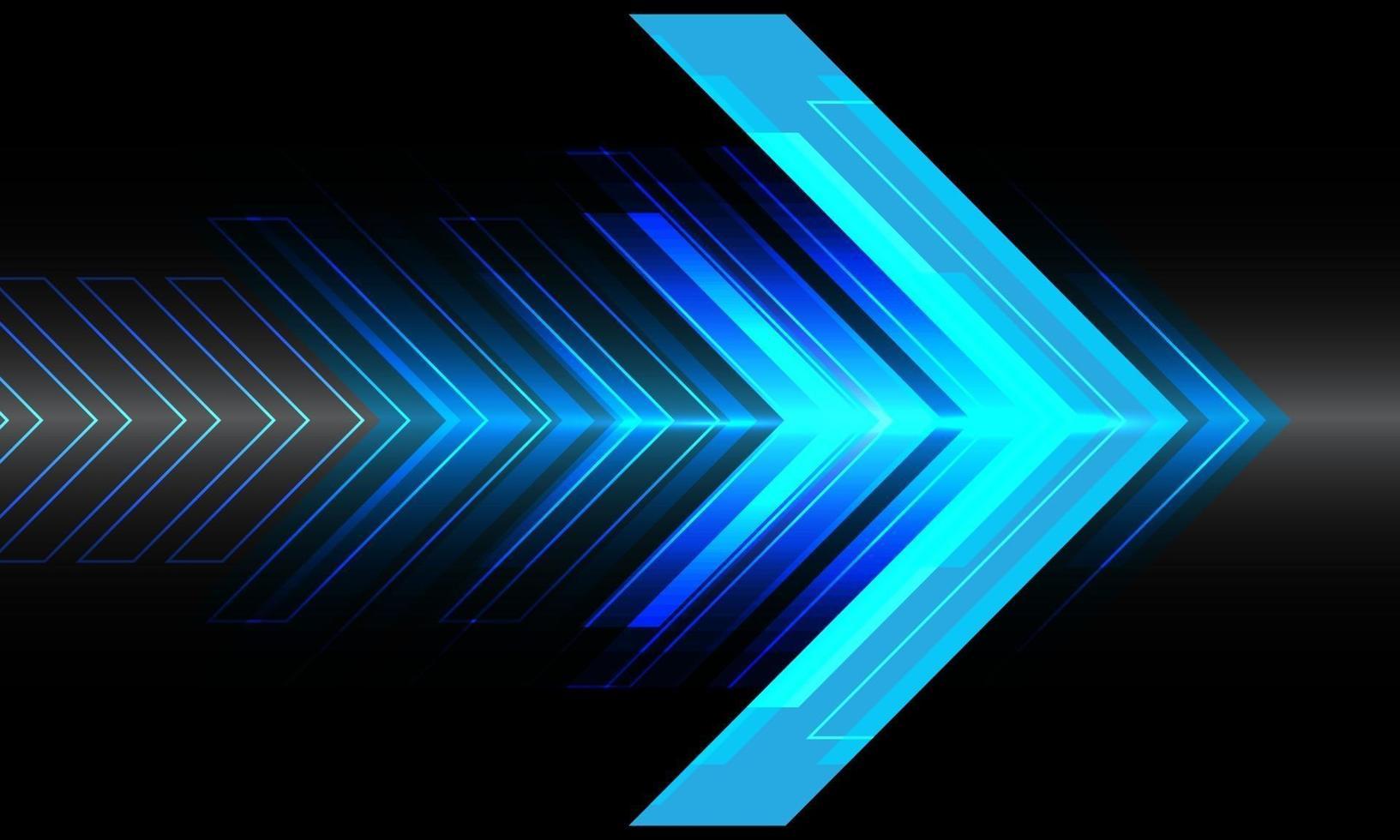 abstrakt blå ljus pil hastighet riktning på svart design modern teknik futuristisk bakgrund vektorillustration. vektor