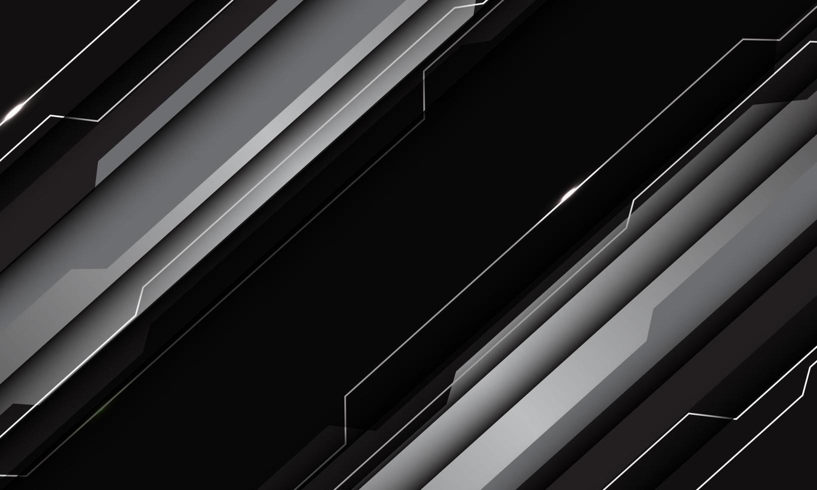 abstrakt silvergrå svart metallisk geometrisk teknik cyberkretslinje futuristisk snedstreck design modern vektorillustration. vektor
