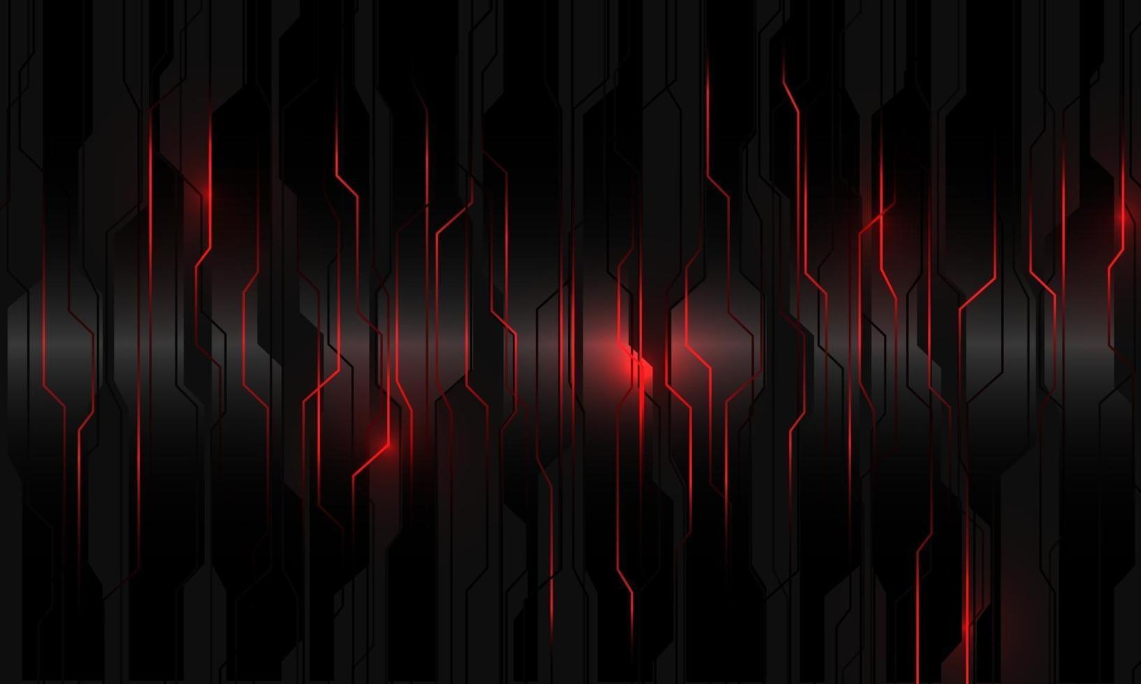 abstrakt strömkrets för rött ljus på svart metallisk cyber geometrisk design modern teknik futuristisk bakgrundsvektorillustration. vektor