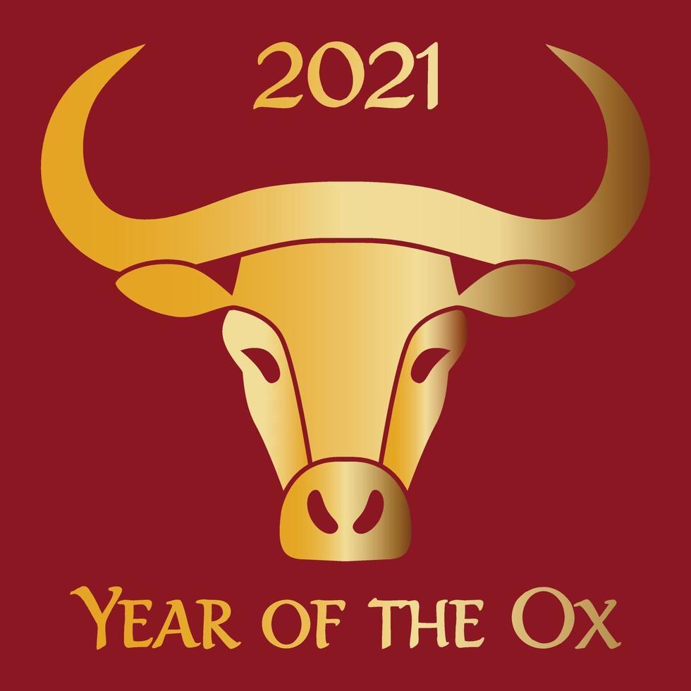 rött guld 2021 år av oxens kinesiska nyårsgrafik vektor