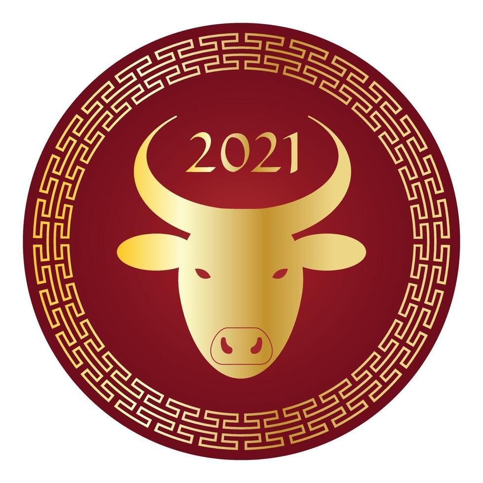 metalliskt guld och rött 2021 år av oxen kinesiskt nyår cirkel grafik vektor