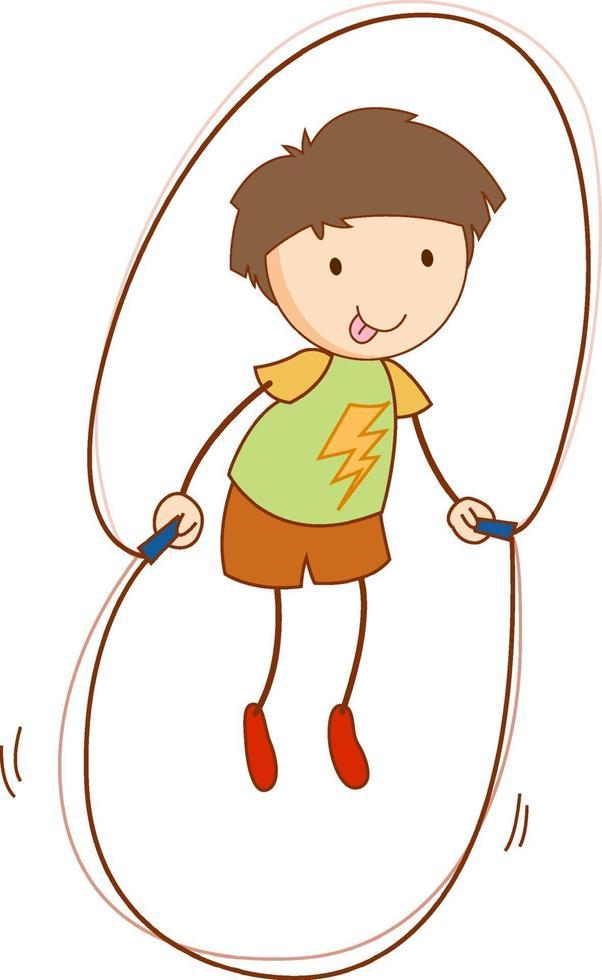söt pojke seriefigur i handritad doodle stil isolera vektor