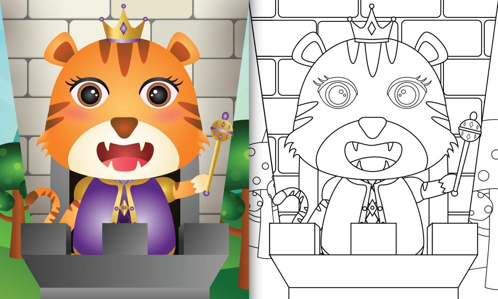 Malbuchschablone für Kinder mit einer niedlichen Tiger-Nilpferd-Charakterillustration vektor