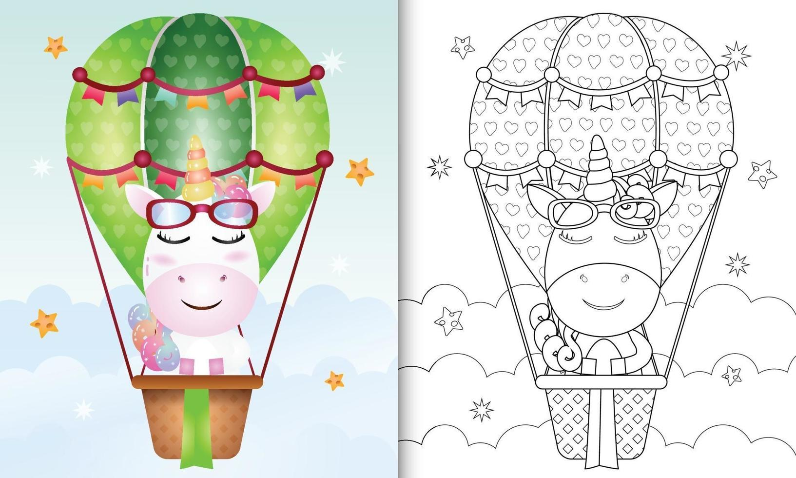 Malbuchvorlage für Kinder mit einem niedlichen Einhorn auf Heißluftballon vektor