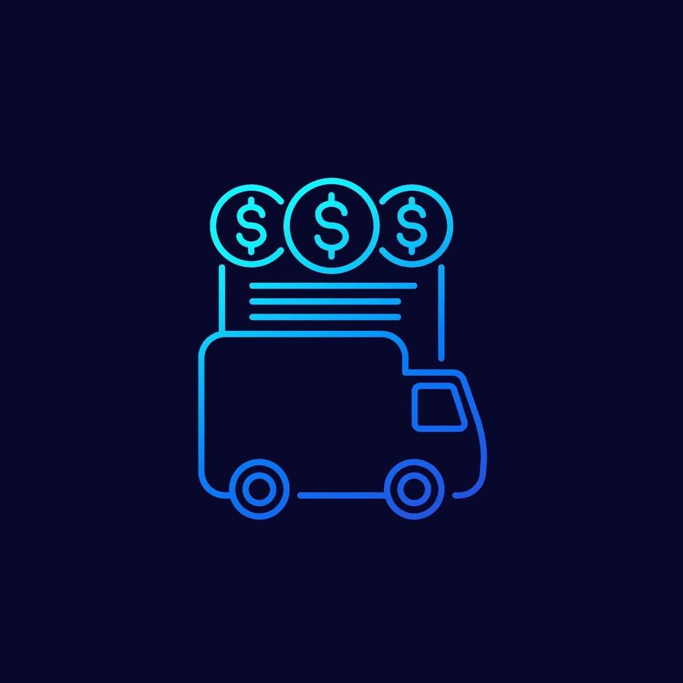 transportkostnader linje vektor ikon