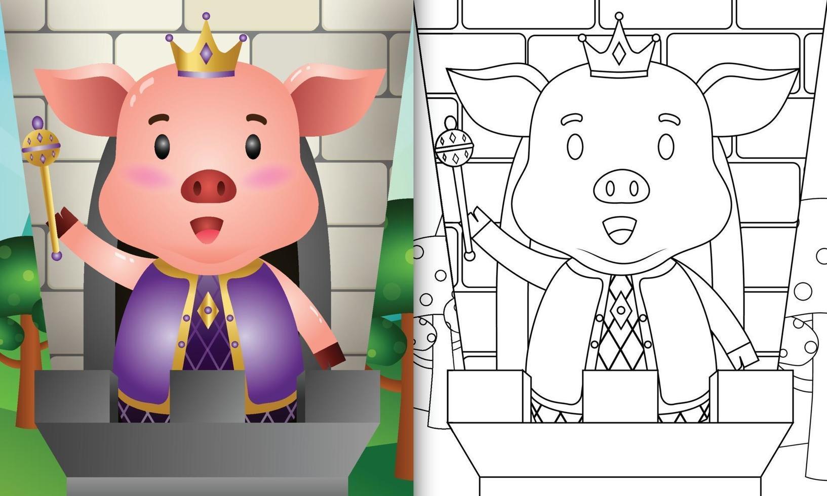 Malbuchschablone für Kinder mit einer niedlichen Königschweincharakterillustration vektor