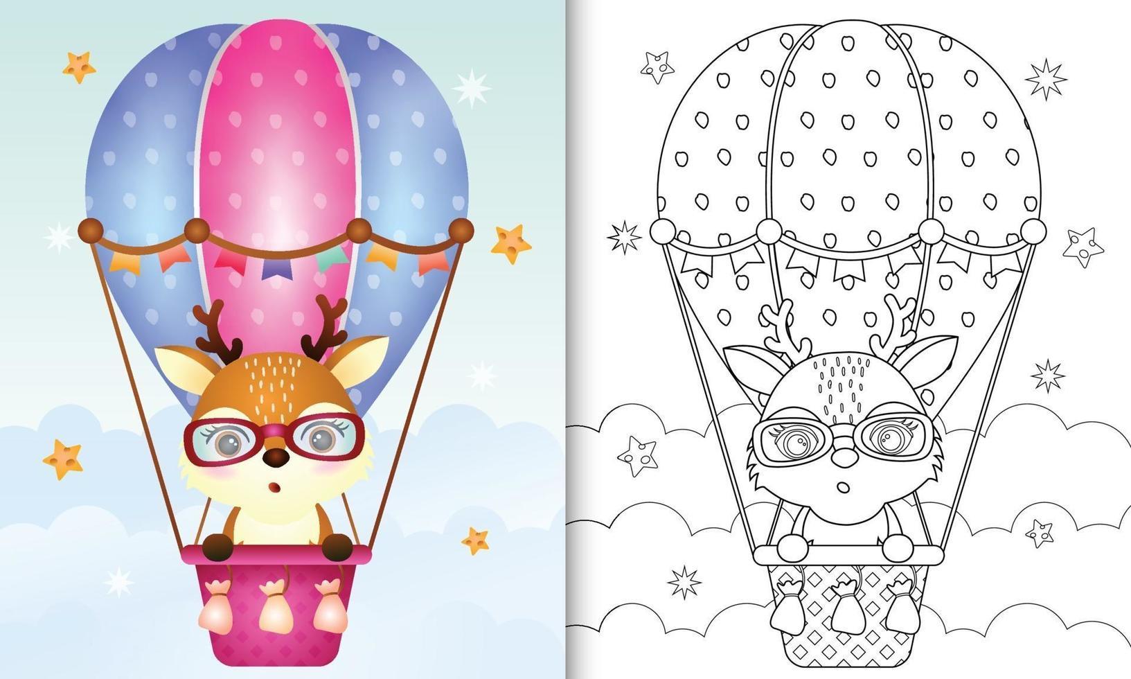 Malbuchschablone für Kinder mit einem niedlichen Hirsch auf Heißluftballon vektor