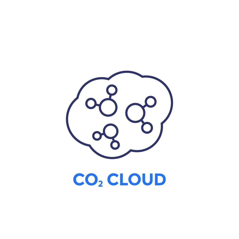 CO2-Wolkenliniensymbol auf Weiß vektor