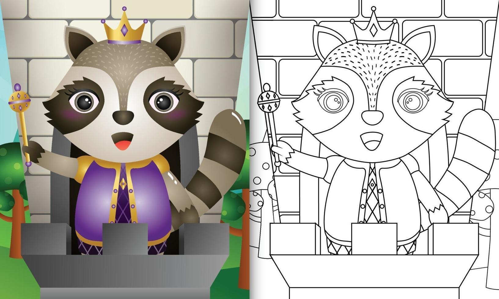 Malbuchschablone für Kinder mit einer niedlichen König Waschbärcharakterillustration vektor