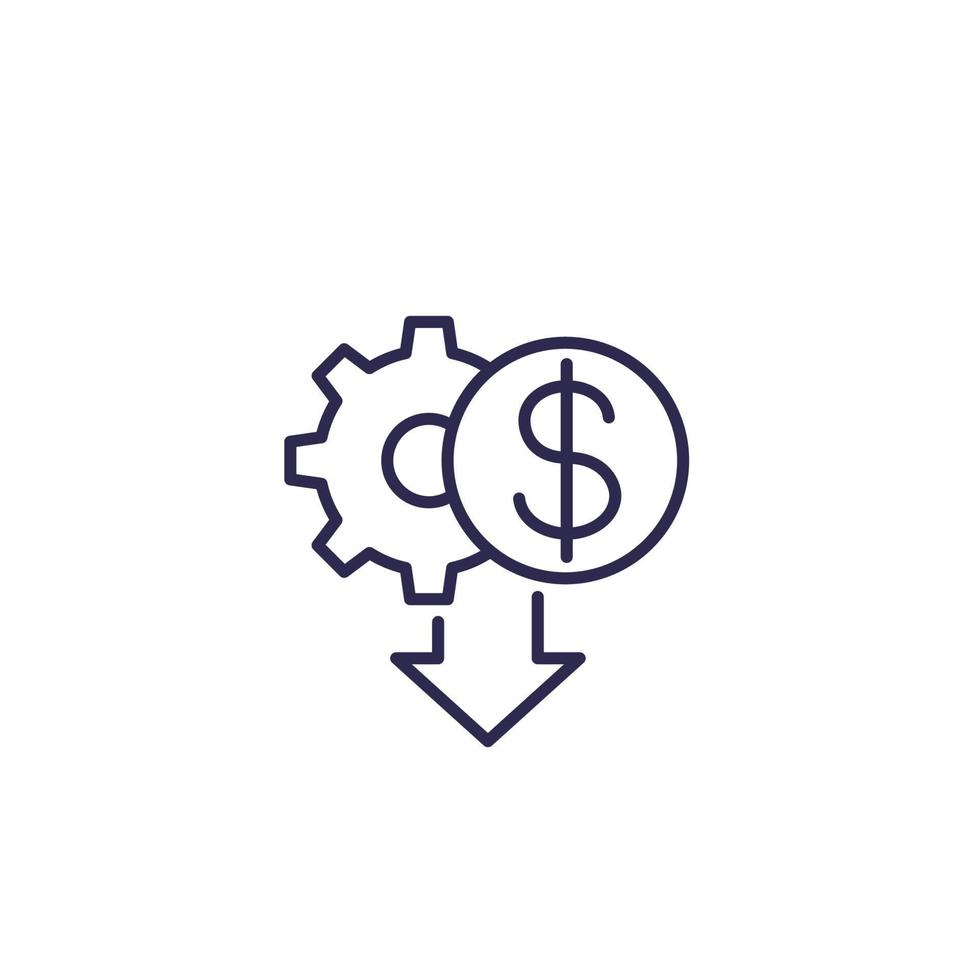 kostnadsminskningsikon, linjedesign vektor