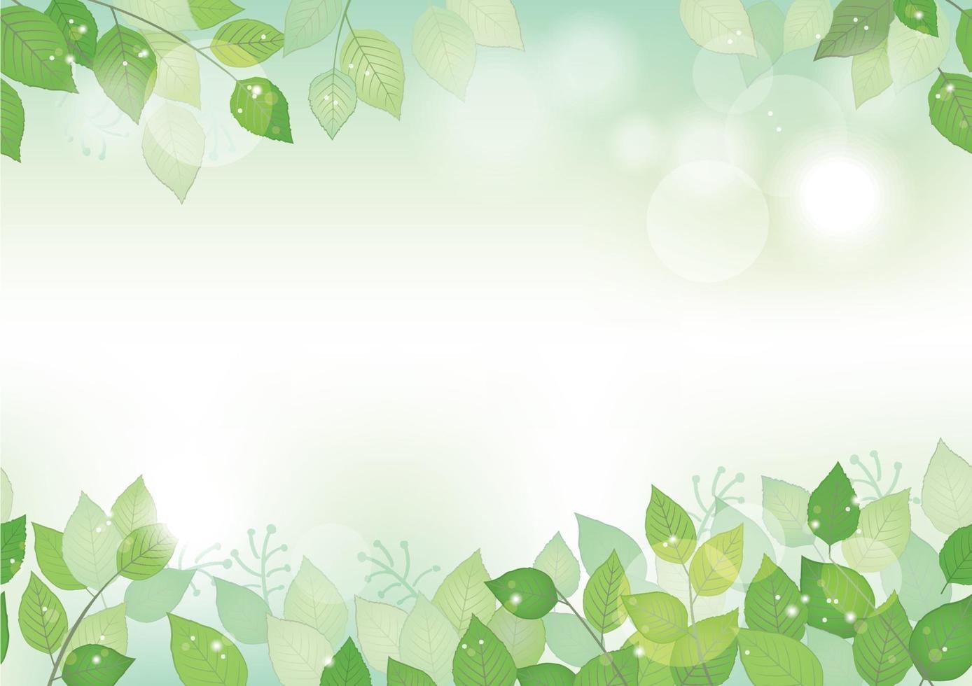 frischer grüner Hintergrund des nahtlosen Aquarells mit Textraum, Vektorillustration. umweltbewusstes Bild mit Pflanzen und Sonnenlicht. horizontal wiederholbar. vektor