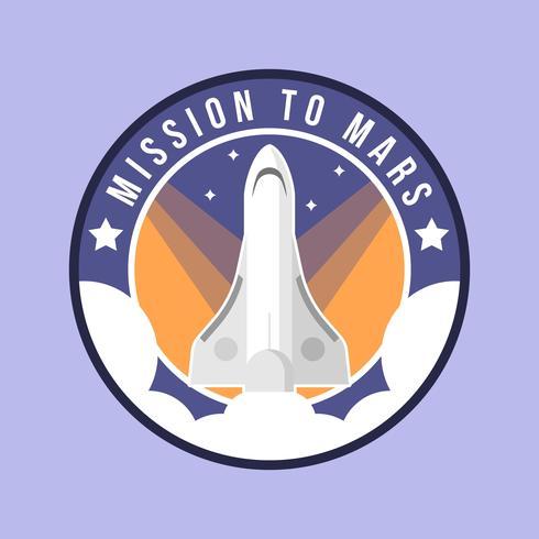 Flache Mission zum Mars-Flecken-Vektor vektor