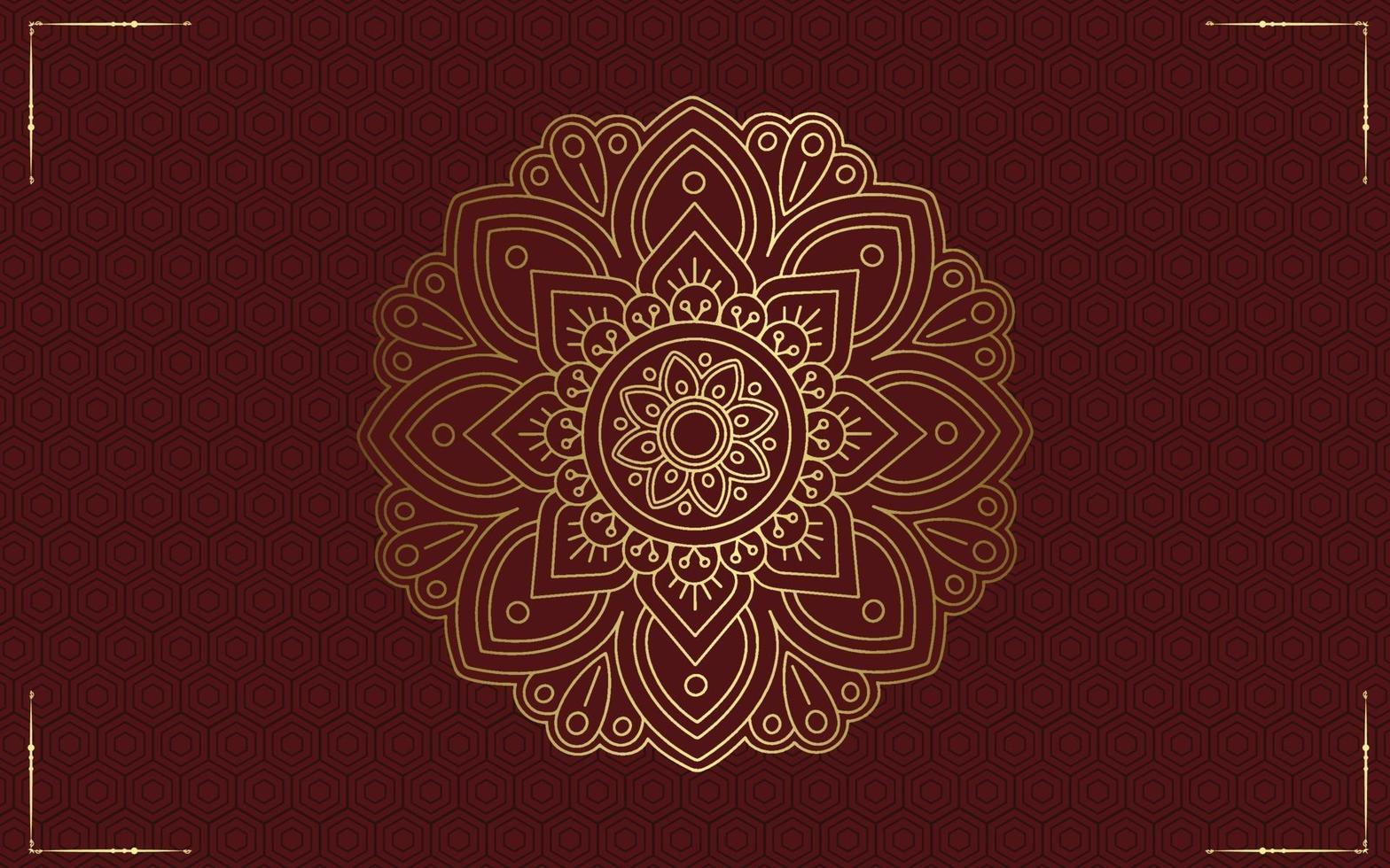 lyx mandala mönster bakgrund med gyllene arabesque vektor