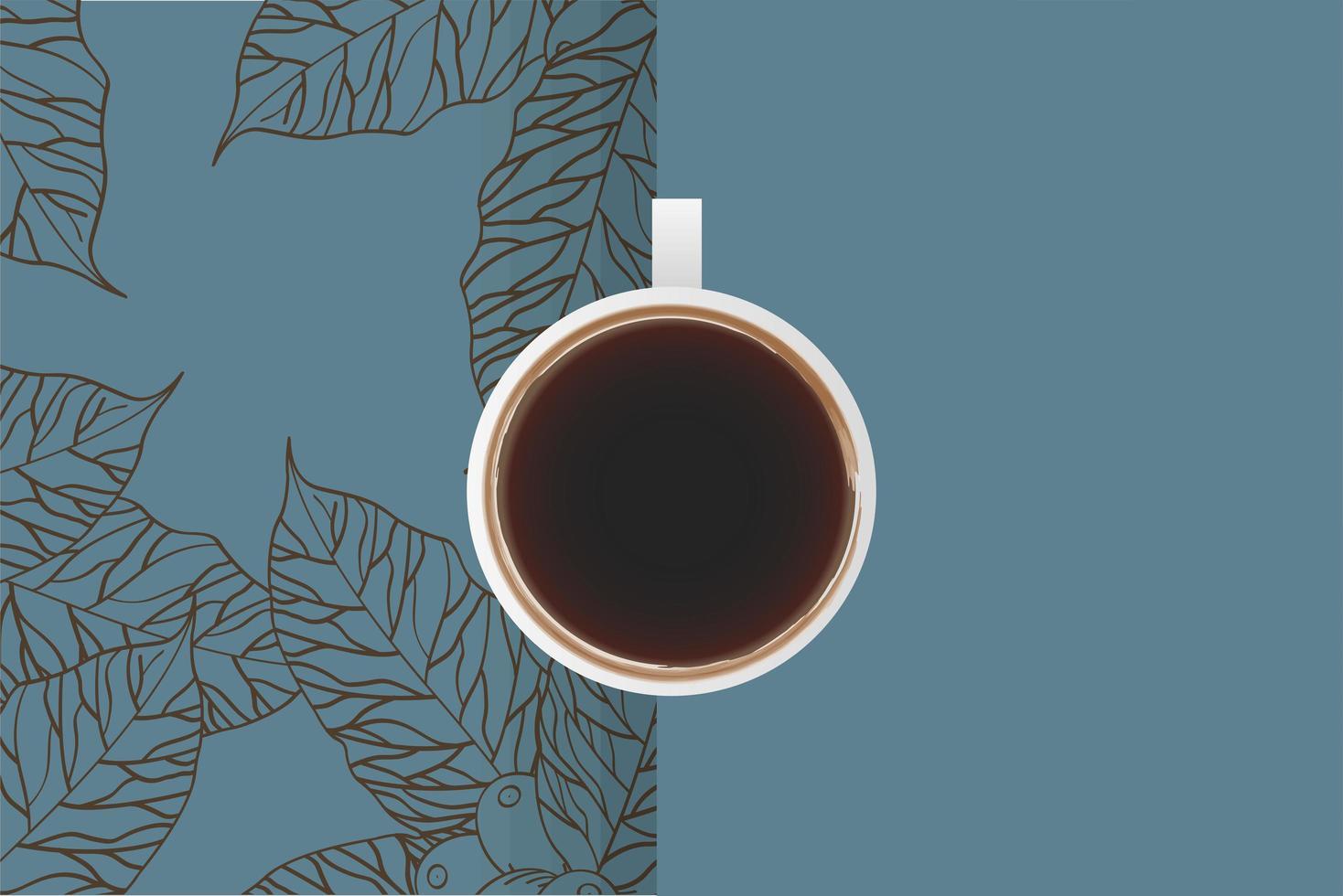 Tasse Kaffee Draufsicht mit Blättern vektor